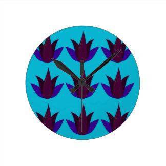 Horloge Ronde Lotus bleus