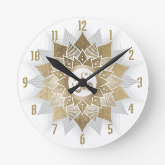 Horloge Ronde Mandala de fleur de Lotus de symbole de l'OM d'or