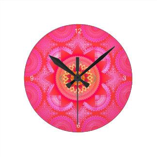 Horloge Ronde Mandala ID130 de rose de fleur de Lotus