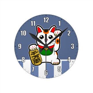 Horloge Ronde Maneki Neko : Chat chanceux japonais