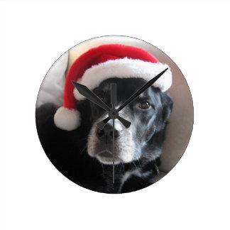 Horloge Ronde Mélange de rottweiler de Père Noël Chien-Labrador