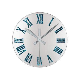 Horloge Ronde Métallique minimal argenté gris de parties