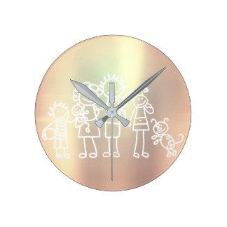 Horloge Ronde Métalliques nacrés de famille rougissent or de