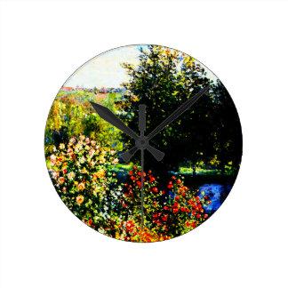 Horloge Ronde Monet-Roses de Claude dans le jardin chez