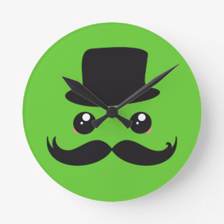 Horloge Ronde Monsieur Mustache Kawaii