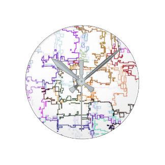 Horloge Ronde Motif abstrait multicolore