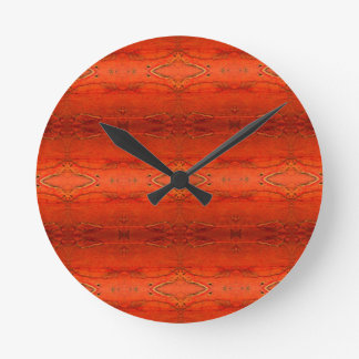 Horloge Ronde Motif aztèque orange