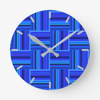 Horloge Ronde Motif d'armure de rayures bleues