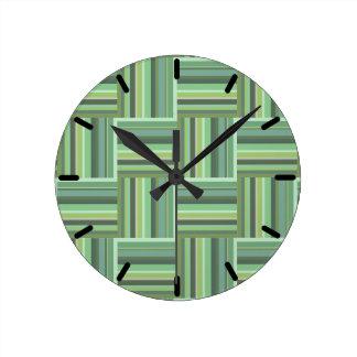Horloge Ronde Motif d'armure de rayures de vert olive