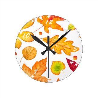 Horloge Ronde Motif de feuille d'automne