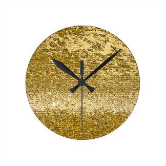 Horloge Ronde Motif de mosaïque d'or