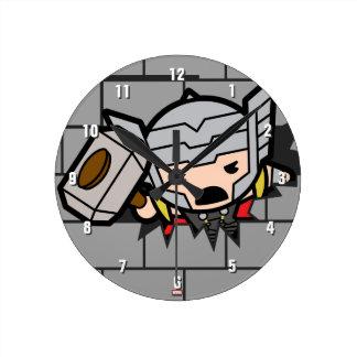 Horloge Ronde Motif de mur de briques de vengeurs de Kawaii
