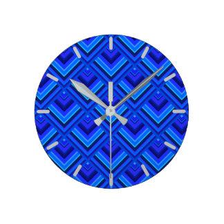 Horloge Ronde Motif d'échelle de rayures bleues