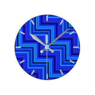 Horloge Ronde Motif d'escaliers de rayures bleues