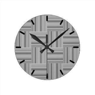 Horloge Ronde Motif gris d'armure de rayures