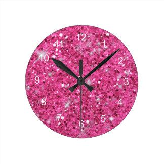 Horloge Ronde Motif rose de scintillement
