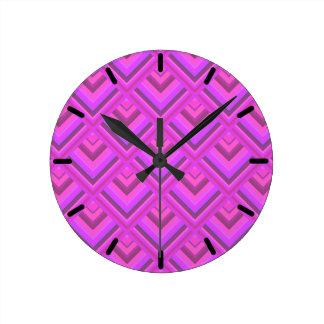 Horloge Ronde Motif rose d'échelle de rayures