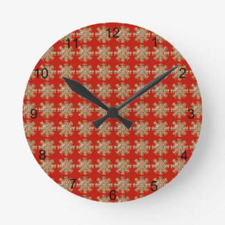Horloge Ronde Motif rouge de flocon de neige
