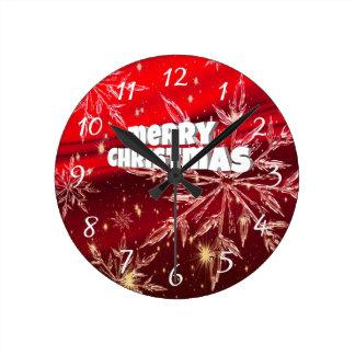 Horloge Ronde Neige rouge de blanc de Noël
