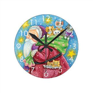 Horloge Ronde Noël mignon, le père noël avec des chatons et des
