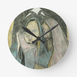 Horloge Ronde Noël religieux de Noël de Jésus Mary Joseph de