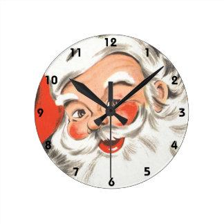 Horloge Ronde Noël vintage, le père noël gai avec le sourire