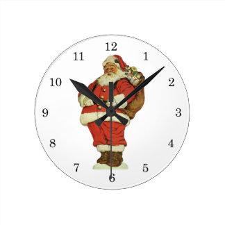 Horloge Ronde Noël vintage, le père noël victorien avec des