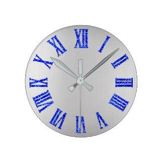 Horloge Ronde Noir minimal argenté gris de BlueGlitter Ombre de