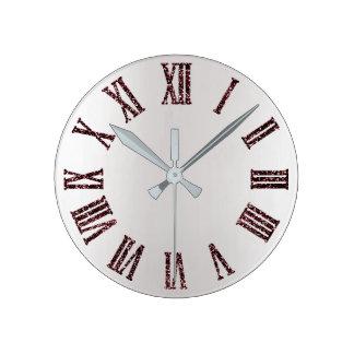 Horloge Ronde Noir minimal argenté gris d'Ombre de parties