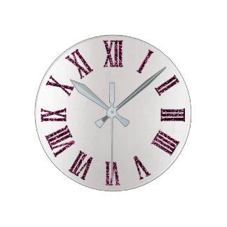 Horloge Ronde Noir minimal argenté gris pourpre d'Ombre de rose