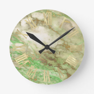 Horloge Ronde Noir minimal de sépia de marbre de menthe d'or de