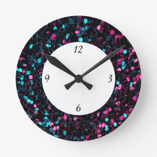 Horloge Ronde Nombre bleu rose scintillant des étincelles W de