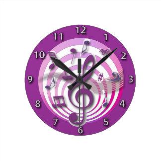 Horloge Ronde Notes musicales de rétro rose de l'effet 3D