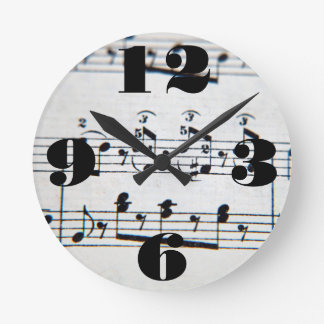Horloge Ronde Notes musicales personnalisables