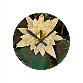 Horloge Ronde Nouveau yoga Namaste Lotus blanc de bouddhisme Zen