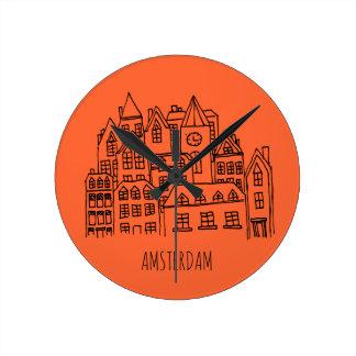 Horloge Ronde Orange néerlandaise de souvenir de ville