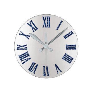 Horloge Ronde Parties scintillantes marines bleues Ombre argenté