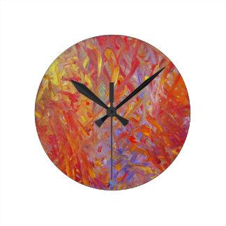 Horloge Ronde Peinture du feu à éclairer vers le haut de tout !
