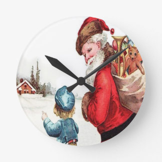 Horloge Ronde Père Noël vintage