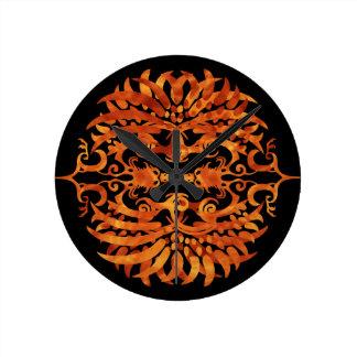 Horloge Ronde Phoenix tribal flamboyant