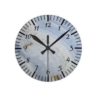 Horloge Ronde Pierre bleue de nature de cool de remous d'agate