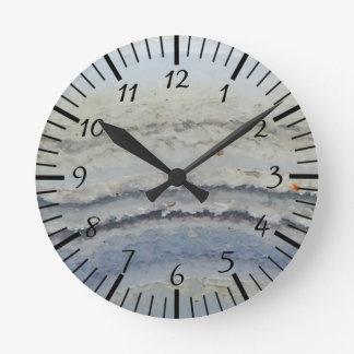 Horloge Ronde Pierre unique de nature de dentelle de cool bleu