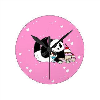 Horloge Ronde Pique-nique mignon d'ours panda