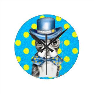 Horloge Ronde Point de polka de Boston Terrier