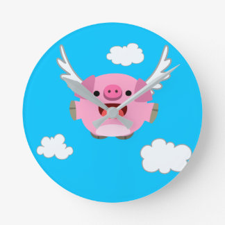 Horloge Ronde Porc mignon de bande dessinée de vol