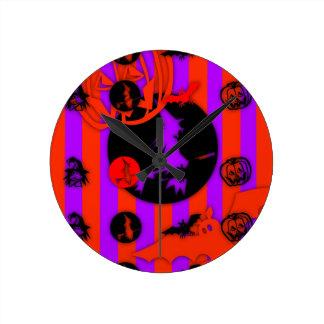 Horloge Ronde Pourpre électrique de Halloween de bruit de