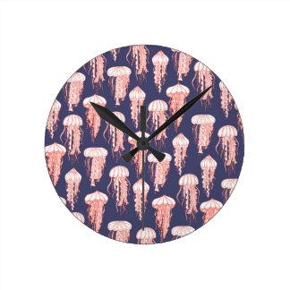 Horloge Ronde Pourpre profondément bleu joyeux d'horloge de
