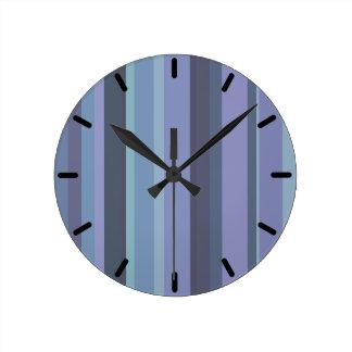 Horloge Ronde rayures horizontales Bleu-grises
