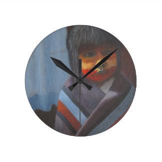 Horloge Ronde Rayures indigènes