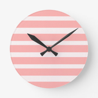 Horloge Ronde Rayures roses et blanches